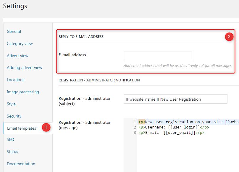 Email templates settings - TerraClassifieds Docs